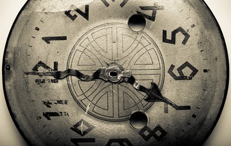 arabic numeral: Clock face of the old clock. Toned.