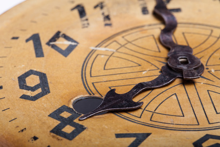 Clock face of the old clock. Selective focus. Shallow depth of field. Stock Photo