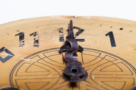 arabic numeral: Clock face of the old clock. Selective focus. Shallow depth of field. Stock Photo