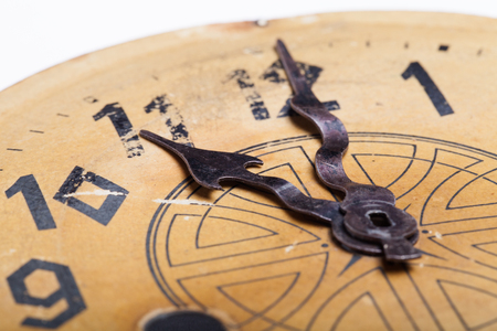 ancient pass: Clock face of the old clock. Selective focus. Shallow depth of field. Stock Photo