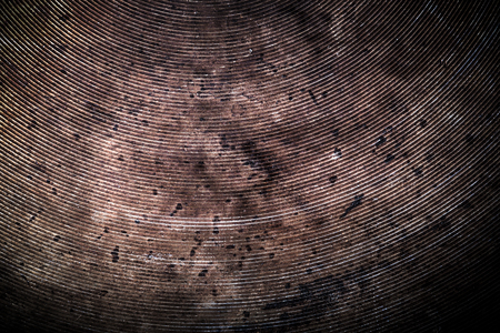 stockpot: The bottom of the old metal frying pan. Toned. Stock Photo