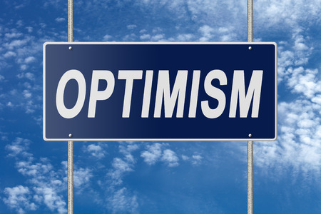 positivism: Signpost on blue nameplate on sky background. Stock Photo