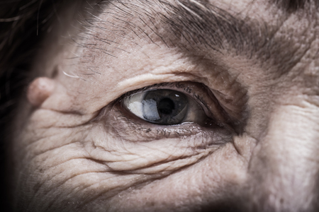 grayness: Portrait of elderly woman. Closeup. Toned.
