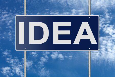 positivism: Signpost on blue nameplate on sky background. Stock Photo