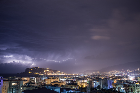 thundershower: Thunderstorm over Alanya main peninsula.