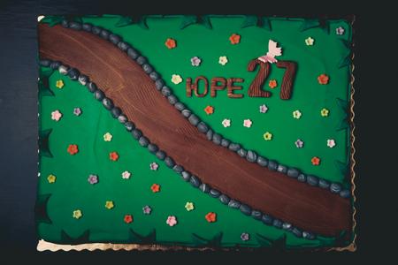Birthday cake with inscription