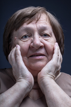 grayness: Portrait of elderly woman. Question.