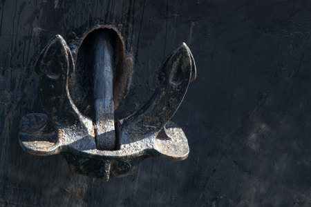 ocean and sea: Old heavy anchor on board the ship.