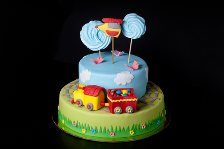Cake with mastic for childrens birthday. Stock Photo
