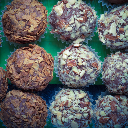 Set of different kinds of homemade chocolate truffles. Toned.
