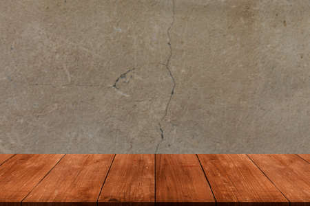 Light plastered wall with crack. Background. View from dark wooden gangway, table or bridge. Collage.