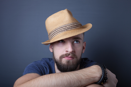 Portrait of a young man with a beard. Stock Photo