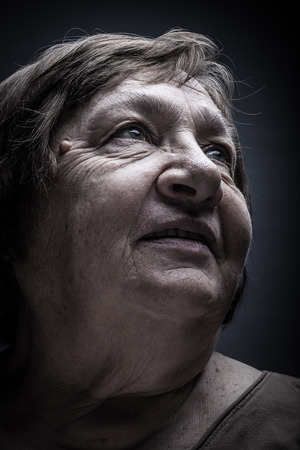 Portrait of elderly woman. Smile. Toned.