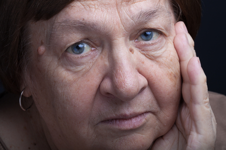 grayness: Portrait of elderly woman. Question.