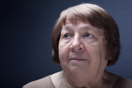 Portrait of elderly woman. Wonder.