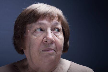 grayness: Portrait of elderly woman Stock Photo