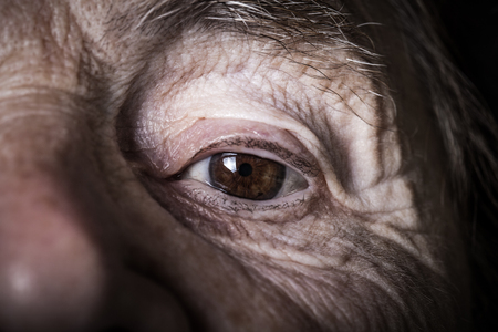 grayness: Portrait of elderly woman. Close-up detail. Toned.