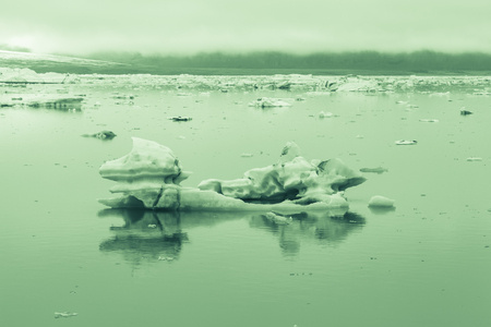 dive trip: Iceberg lagoon jokulsarlon on the south of Iceland. Toned.