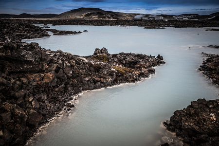 View to the Blue Lagoon in the Iceland. Toned. Stock Photo
