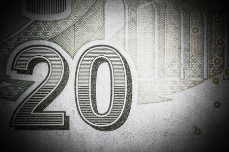 Close up macro detail of euro money banknotes. Toned. Lizenzfreie Bilder