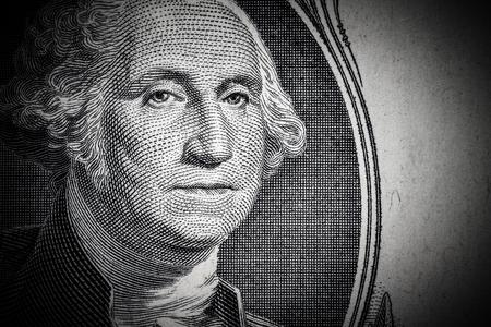 1 달러 지폐에 조지 워싱턴 초상화를 닫습니다. 톤.