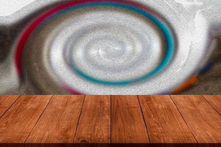 Abstract drawing - background is partially blurred over old light wooden table or board. Collage. Selective Focus.