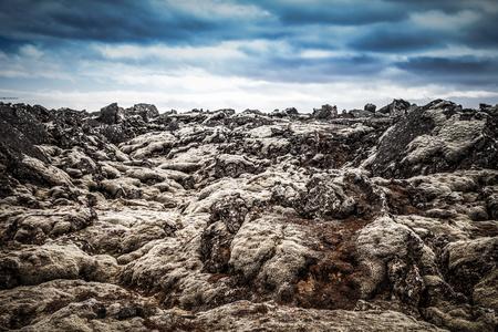 Stony rocky desert landscape of Iceland. Toned.