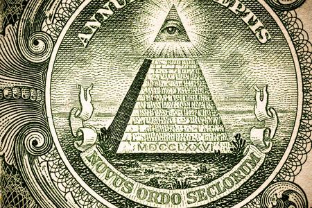 Close up macro detail of dollar money banknotes. Toned.