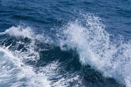 White crest of a sea wave. Selective focus. Shallow depth of field.