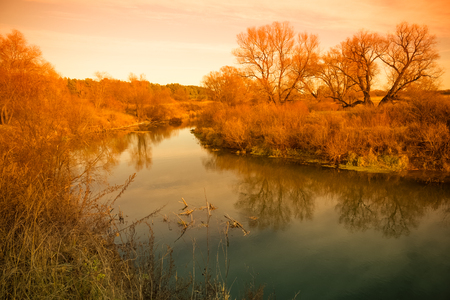 Beautiful view on a river in the autumn forest. Toned.