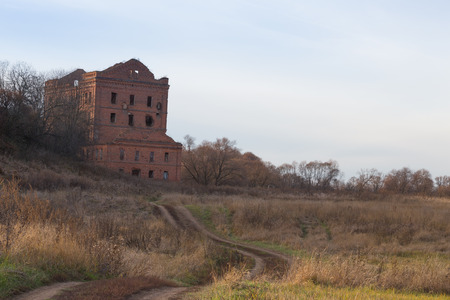 old destroyed mill on an autumn landscape stock photo picture and