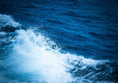 White crest of a sea wave. Selective focus. Shallow depth of field. Toned. Stock Photo