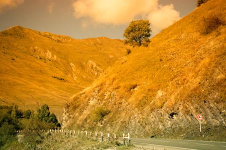 Beautiful autumn mountain landscape in Georgia. Toned.