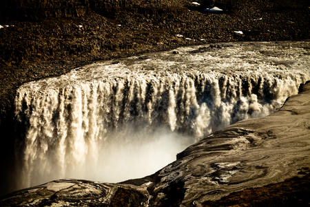 Beautiful view to the Dettifoss waterfall in Iceland. Toned. Stock Photo