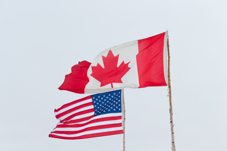 Flags of different USA and Canada on the background of the gloomy sky.