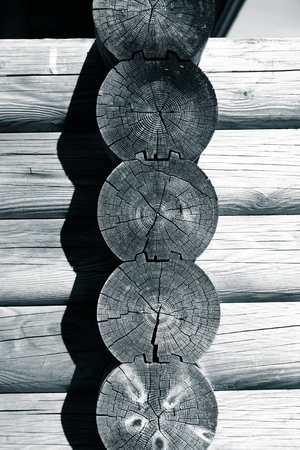 Part of wooden rustic house. Toned. Stock Photo