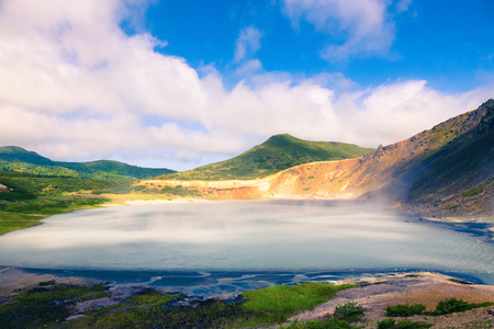 Beautiful landscape in the caldera of the Golovnin volcano on Kunashir island. Toned.