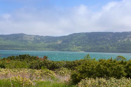 Beautiful landscape of Kunashir island. Imagens