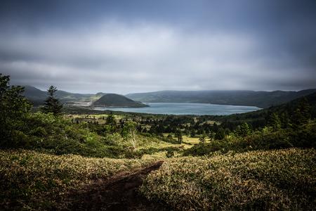 Beautiful deserted landscape of Kunashir island. Toned.