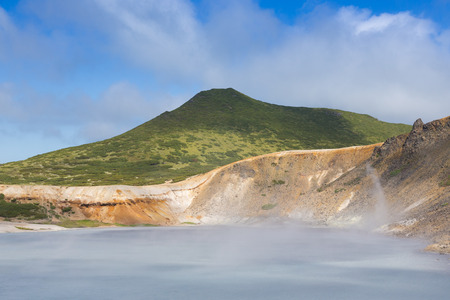Beautiful landscape in the caldera of the Golovnin volcano on Kunashir island.