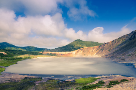 Beautiful landscape in the caldera of the Golovnin volcano on Kunashir island. Toned. 写真素材