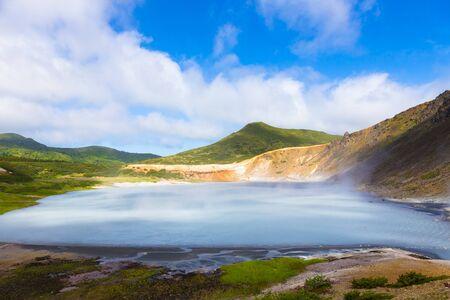 Beautiful landscape in the caldera of the Golovnin volcano on Kunashir island.