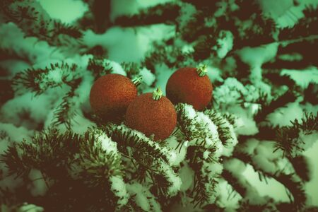 Bright balls on a cristmas tree branches on a clean pure snow for natural winter background. New year composition. Shallow depth of field. Selection focus. Toned.