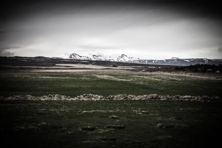 Beautiful dramatic multicolored spring landscape of Iceland. Toned. Imagens