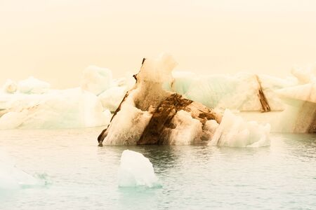 Iceberg lagoon jokulsarlon on the south of Iceland. Toned.
