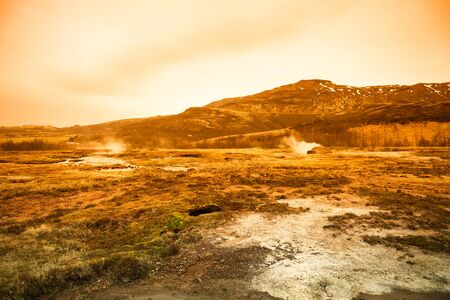 Beautiful dramatic multicolored spring landscape of Iceland. Toned. Stock fotó