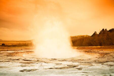 Beautiful dramatic multicolored spring landscape of Iceland. Toned. Stock Photo