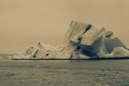 Bizarre ice floes of Iceberg lagoon jokulsarlon on the south of Iceland. Toned.