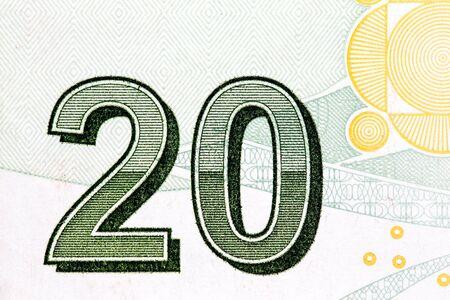 Close up to 20 on twenty liras bill. Stock fotó