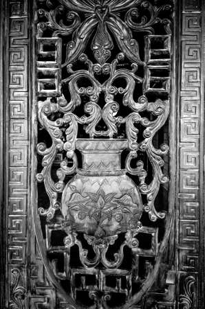Gate grille in a Temple of the White Goddess in Phan Thiet Vietnam. Toned. Standard-Bild